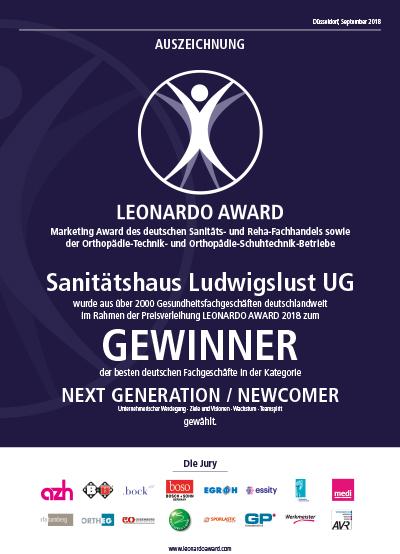 Urkunde Leonardo Award 2018 Sanitätshaus Ludwigslust